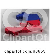 Royalty Free RF Clipart Illustration Of A Rendered 3d Blue And Red Map Of Haiti With Port Au Prince And Jacmel