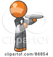 Royalty Free RF Clipart Illustration Of An Orange Man Waitor Holding A Platter by Leo Blanchette