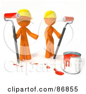 3d Orange Man And Woman With A Bucket Of Red Paint And Roller Brushes