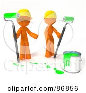 3d Orange Man And Woman With A Bucket Of Green Paint And Roller Brushes