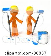 Poster, Art Print Of 3d Orange Man And Woman With A Bucket Of Blue Paint And Roller Brushes