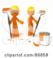 Royalty Free RF Clipart Illustration Of A 3d Orange Man And Woman With A Bucket Of Orange Paint And Roller Brushes
