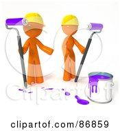 3d Orange Man And Woman With A Bucket Of Purple Paint And Roller Brushes