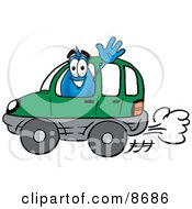 Clipart Picture Of A Water Drop Mascot Cartoon Character Driving A Green Car And Waving by Toons4Biz