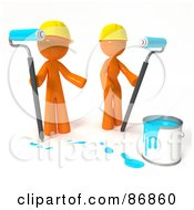 Poster, Art Print Of 3d Orange Man And Woman With A Bucket Of Turquoise Paint And Roller Brushes