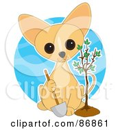Royalty Free RF Clipart Illustration Of A Adorable Arbor Day Chihuahua Puppy Holding A Shovel And Sitting By A Freshly Planted Tree