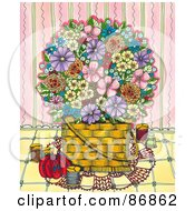 Basket Of Colorful Flowers With Sewing Items Against A Pink Wall