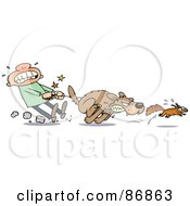Royalty Free RF Clipart Illustration Of A Guy Struggling To Hold Back His Dog From Chasing A Squirrel