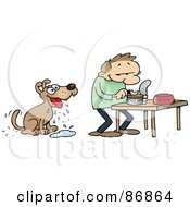 Royalty Free RF Clipart Illustration Of A Dog Drooling While His Master Prepares A Dish Of Wet Food