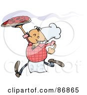 Royalty Free RF Clipart Illustration Of A Running Pizza Chef Carrying A Hot Pie by gnurf