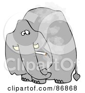 Royalty Free RF Clipart Illustration Of A Grey Elephant Smoking A Cigarette And Looking Back by djart