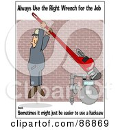 Royalty Free RF Clipart Illustration Of A Work Safety Scene Of A Man Tightening A Gas Meter by djart