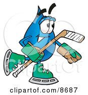 Clipart Picture Of A Water Drop Mascot Cartoon Character Playing Ice Hockey by Toons4Biz