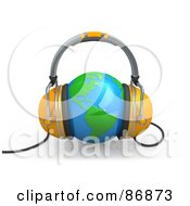 Royalty Free RF Clipart Illustration Of A Pair Of 3d Headphones Over A Shiny Globe by 3poD