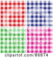 Royalty Free RF Clipart Illustration Of A Digital Collage Of Red Blue Green And Pink Checkered Table Cloth Background Patterns by Paulo Resende