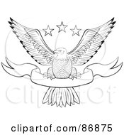 Royalty Free RF Clipart Illustration Of A Black And White Outlined Bald Eagle With Stars And A Banner by Paulo Resende