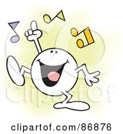 Royalty Free RF Clipart Illustration Of A Moodie Character Doing His Happy Dance With Music Notes