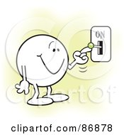 Royalty Free RF Clipart Illustration Of A Moodie Character Smiling And Flipping A Switch On by Johnny Sajem