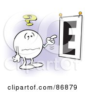 Royalty Free RF Clipart Illustration Of A Nearly Blind Moodie Character Trying To See A Giant E Eye Chart by Johnny Sajem