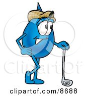 Clipart Picture Of A Water Drop Mascot Cartoon Character Leaning On A Golf Club While Golfing by Toons4Biz