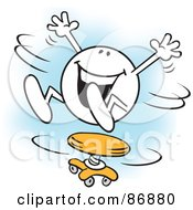 Royalty Free RF Clipart Illustration Of A Happy Moodie Character Spinning Around On A Stool by Johnny Sajem