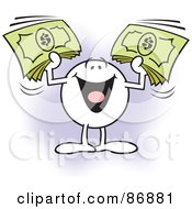 Royalty Free RF Clipart Illustration Of A Moodie Character Holding Up Bundles Of Cash by Johnny Sajem