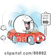 Royalty Free RF Clipart Illustration Of A Happy Moodie Character Driving The Right Way by Johnny Sajem