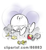 Royalty Free RF Clipart Illustration Of A Moodie Character Sitting Down In The Dumps by Johnny Sajem
