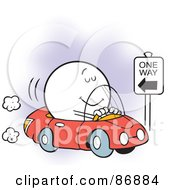 Royalty Free RF Clipart Illustration Of An Oblivious Moodie Character Driving The Wrong Way by Johnny Sajem
