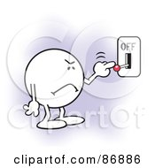 Royalty Free RF Clipart Illustration Of A Moodie Character Frowning And Flipping A Switch Off