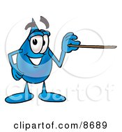 Water Drop Mascot Cartoon Character Holding A Pointer Stick