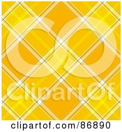 Royalty Free RF Clipart Illustration Of A Yellow And White Tartan Plaid Background Pattern by MacX