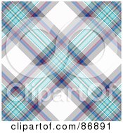 Royalty Free RF Clipart Illustration Of A Blue And White Tartan Plaid Background Pattern by MacX