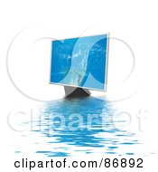 Royalty Free RF Clipart Illustration Of A Water Splash On A Monitor Over Rippling Water