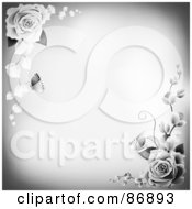 Royalty Free RF Clipart Illustration Of A Gray Background With Shaded Rose Corners And Copyspace