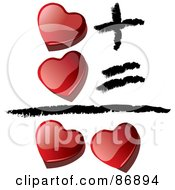 Shiny Red 3d Hearts Equaling Love