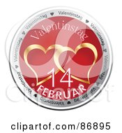 Royalty Free RF Clipart Illustration Of A Shiny Red And Gold Valentinestag Button by MacX