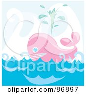 Royalty Free RF Clipart Illustration Of A Happy Pink Whale Shooting Up Spray And Floating On The Sea