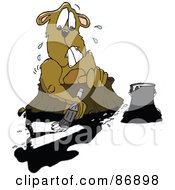 Royalty Free RF Clipart Illustration Of A Nervous Groundhog Trying To Paint Over His Shadow