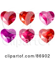 Royalty Free RF Clipart Illustration Of A Digital Collage Of Red Purple And Pink Diamond Hearts by Pushkin
