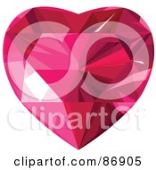 Garnet Faceted Heart Version 2