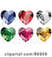Digital Collage Of Blue And Clear Diamond Ruby Emerald Garnet And Amber Hearts