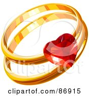 Golden His And Hers Wedding Bands With A Ruby Heart