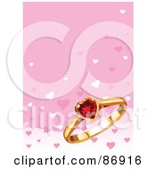 Royalty Free RF Clipart Illustration Of A Pink Background With A Ruby Heart And Gold Ring by Pushkin