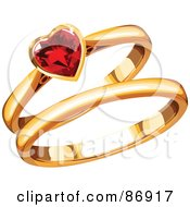 Royalty Free RF Clipart Illustration Of Gold His And Hers Wedding Bands With A Ruby Heart