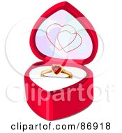 Royalty Free RF Clipart Illustration Of A Ruby Heart Engagement Ring In A Pink Ring Box by Pushkin