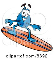 Clipart Picture Of A Water Drop Mascot Cartoon Character Surfing On A Blue And Orange Surfboard by Toons4Biz