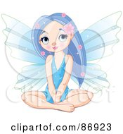 Royalty Free RF Clipart Illustration Of A Pretty Purple Haired Fairy Sitting And Thinking