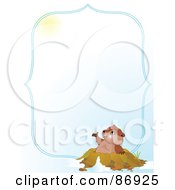 Royalty Free RF Clipart Illustration Of A Cute Groundhog Emerging From His Hole And Looking Up At The Sun With A Blue Border And Copyspace