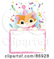 Royalty Free RF Clipart Illustration Of An Adorable Orange Kitten Wearing A Party Hat And Looking Over A Blank Party Sign With Colorful Confetti